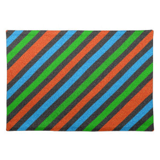 Orange, Blue, Green, Black Glitter Striped STaylor Placemat