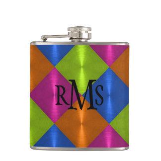 Orange Blue Lime Pink Metallic Looking Monogram Flasks