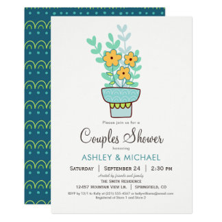 Orange, blue, mint green Couples Shower Invitation
