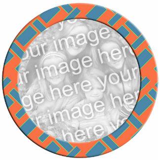 orange blue mod photoframe standing photo sculpture