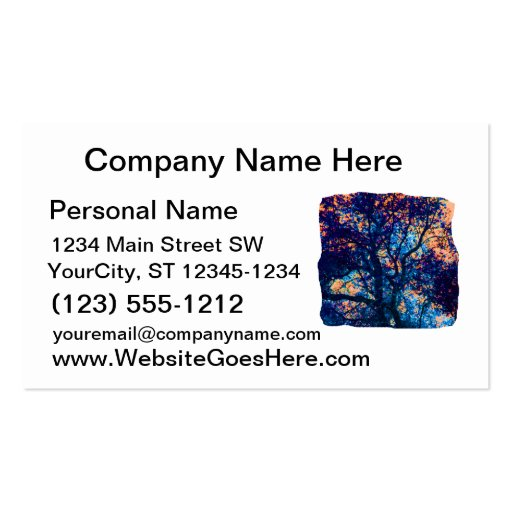 Orange Blue Oak Tree Abstract Branch Business Card Templates
