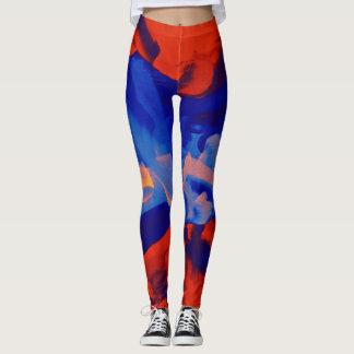 Orange Blue Paint Splatter Leggings