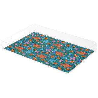 Orange, Blue, Pink Colourful Fun Fish in the Sea Acrylic Tray