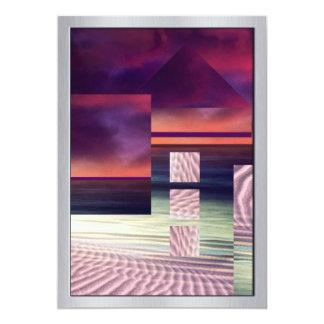 Orange, Blue & Pink Surreal Landscape 13 Cm X 18 Cm Invitation Card