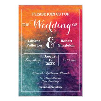 Orange Blue Pink Watercolor-3x5 Wedding Invitation