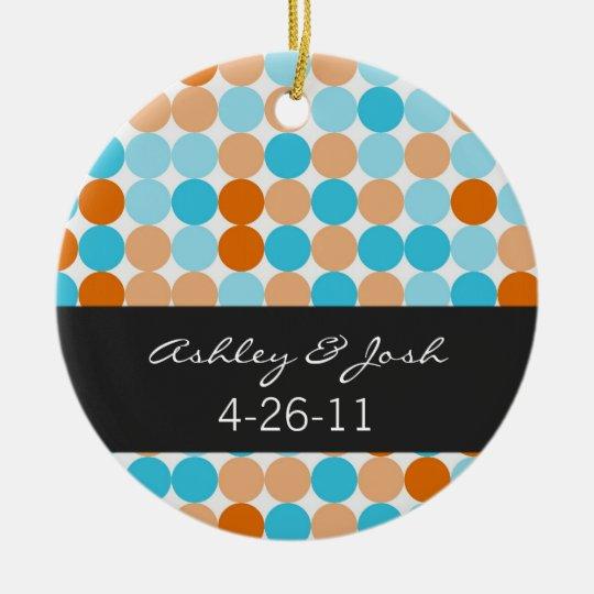 Orange, Blue Polka Dots   Wedding Ornament