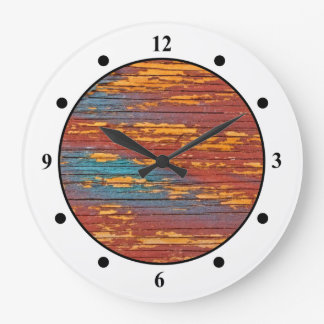 Orange, Blue & Red Painted Wood Clock