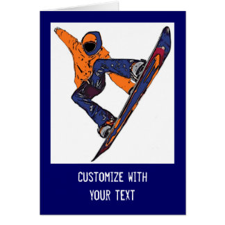 Orange blue rush snowboarder customizable card