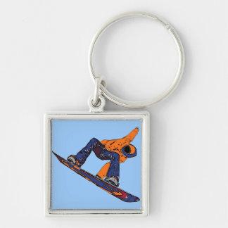 Orange blue rush snowboarder keychain