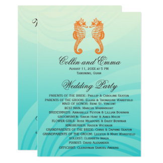 Orange & Blue Seahorse Wedding Programs