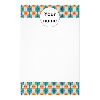 Orange blue shapes abstract pattern stationery design
