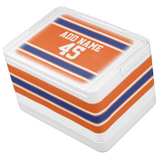 Orange Blue Sports Jersey with Name and Number Igloo Cool Box
