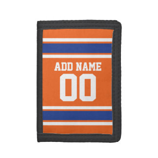 Orange Blue Sports Jersey with Name and Number Tri-fold Wallets