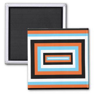 Orange/Blue Squares Square Magnet