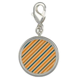 Orange Blue Stripe Round Charm