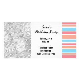 Orange Blue Striped Party Invites Customised Photo Card