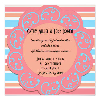 Orange Blue Stripes Wedding Invitations