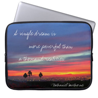 """Orange & blue sunrise """"dream"""" quote laptop sleeve"""