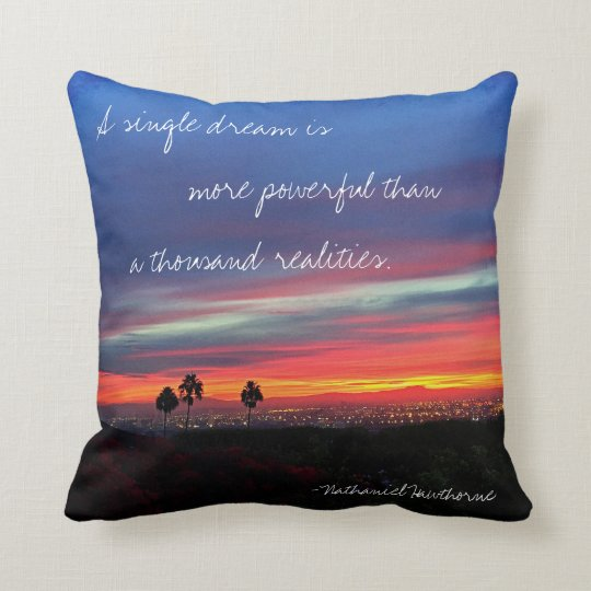 "Orange & blue sunrise ""dream"" quote photo pillow"