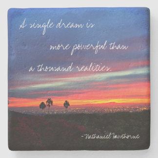 "Orange & blue sunrise ""dream"" quote stone coaster"