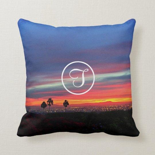 Orange & blue sunrise photo custom monogram pillow
