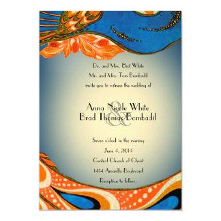 Orange Blue Vintage Peacock Wedding Invitation