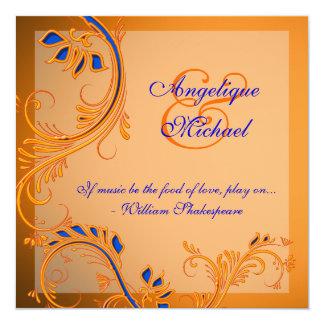 Orange blue wedding anniversary engagement 13 cm x 13 cm square invitation card