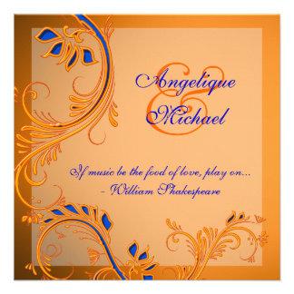 Orange blue wedding anniversary engagement announcement