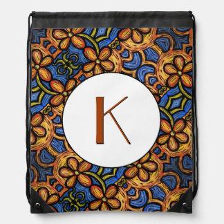 Orange Blue & White Floral Pattern Monogrammed Drawstring Bag