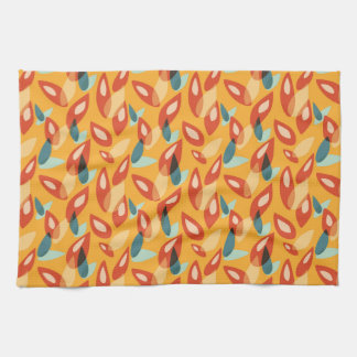 Orange Blue Yellow Abstract Autumn Leaves Pattern Tea Towel