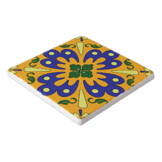 Orange Blue Yellow Spanish Tile Design Trivet