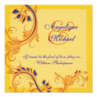 "Orange blue yellow wedding anniversary engagement 5.25"" square invitation card"
