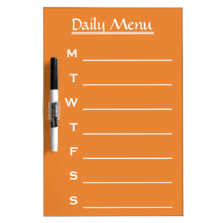 Orange board Daily Menu Weekly Menu