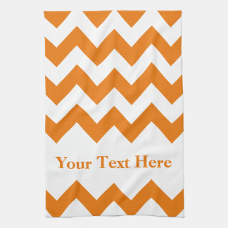 Orange Bold Chevron with customizable text Hand Towel
