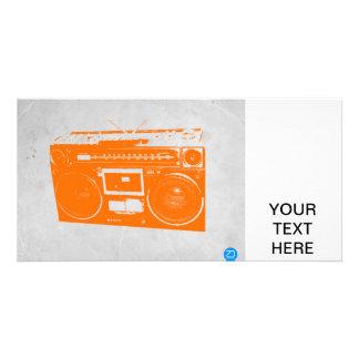 Orange Boom Box Custom Photo Card