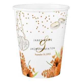 Orange Bouquet Flower Wedding Paper Cup