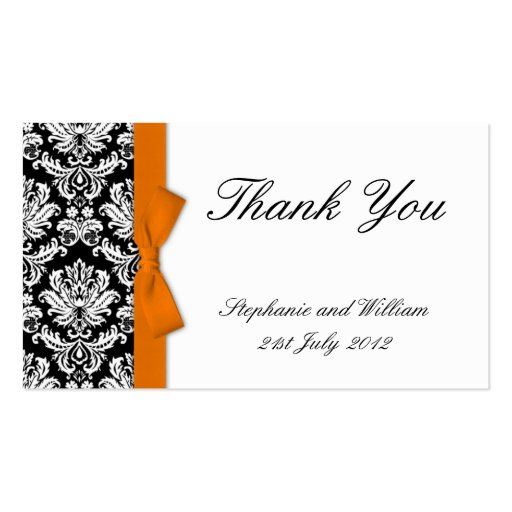 Business thank you card template bow damask wedding thank you cards business card templates zazzle reheart Choice Image