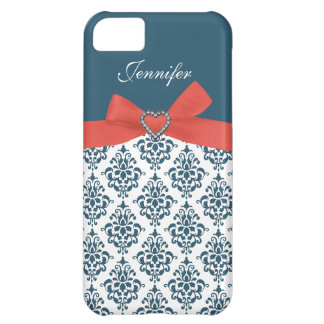 Orange Bow with Teal Damask iPhone Case