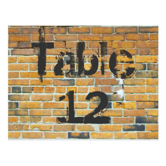Orange Brick Graffiti Reception Table Numbers Postcard