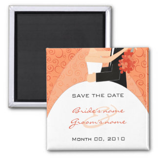 Orange Bride and Groom Save the Date Magnets