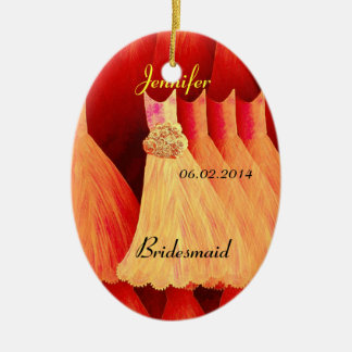 ORANGE Bridesmaid Thank You Wedding Christmas Ornament