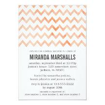 Orange Bright Chevron Bridal Shower Invitations