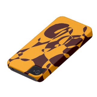 Orange brown abstract pattern iphone case