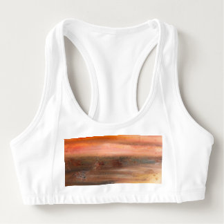 Orange Brown Abstract Sports Bra