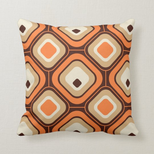 Orange, brown and beige squares cushion