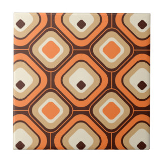Orange, brown and beige squares small square tile