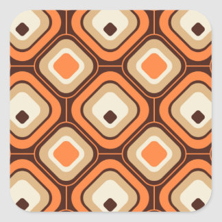 Orange brown and beige squares square stickers