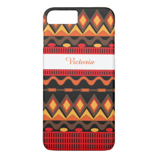 Orange Brown Aztec Tribal Pattern Personalized iPhone 8 Plus/7 Plus Case
