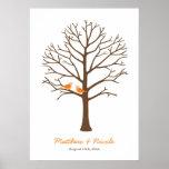 Orange Brown Birds Fingerprint Tree Wedding