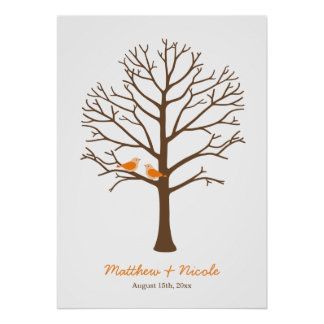 Orange Brown Birds Fingerprint Tree Wedding Poster